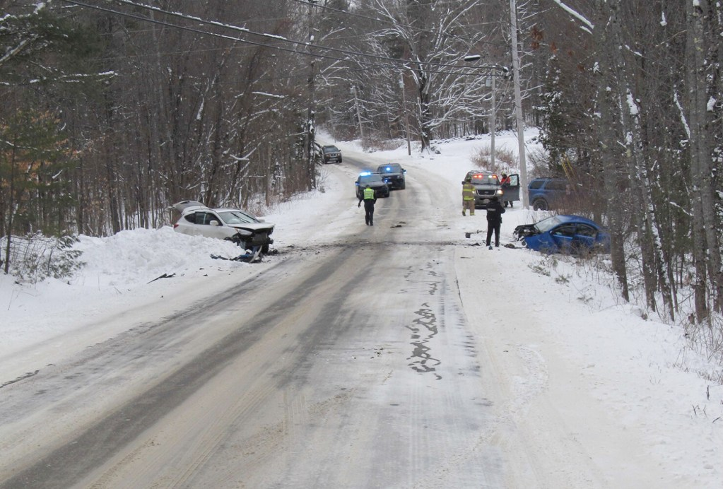 The scene of a fatal motor vehicle accident in Wayne on Saturday. Blanche Fyler, 84, of Wayne, was killed after her vehicle struck another head-on on Pond Road.