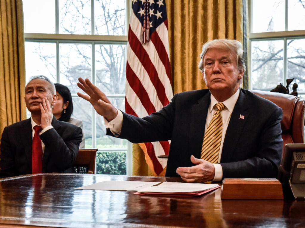 China's vice premier, Liu He, left, meets with President Trump on April 4, 2019, in Washington, D.C.