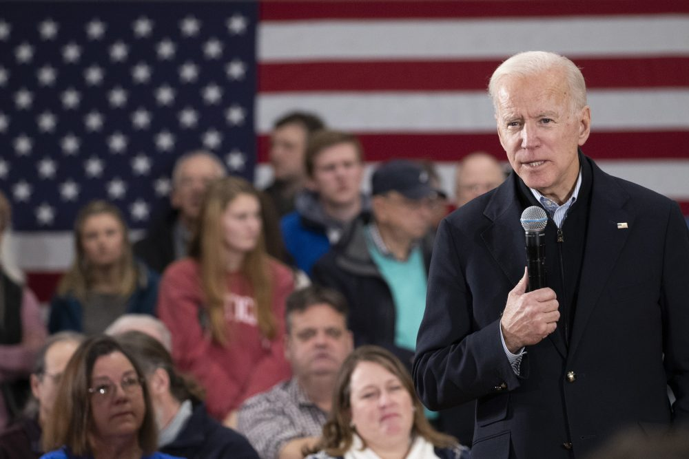 Democratic presidential candidate and former Vice President Joe Biden speaks during a campaign rally Sunday  in Hudson, N.H.