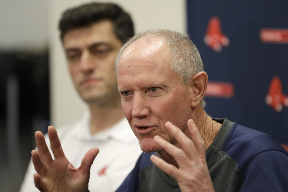 Ron Roenicke, interim Red Sox manager, says he's adjusting to his new role. Chief Baseball Officer Chaim Bloom is at left.