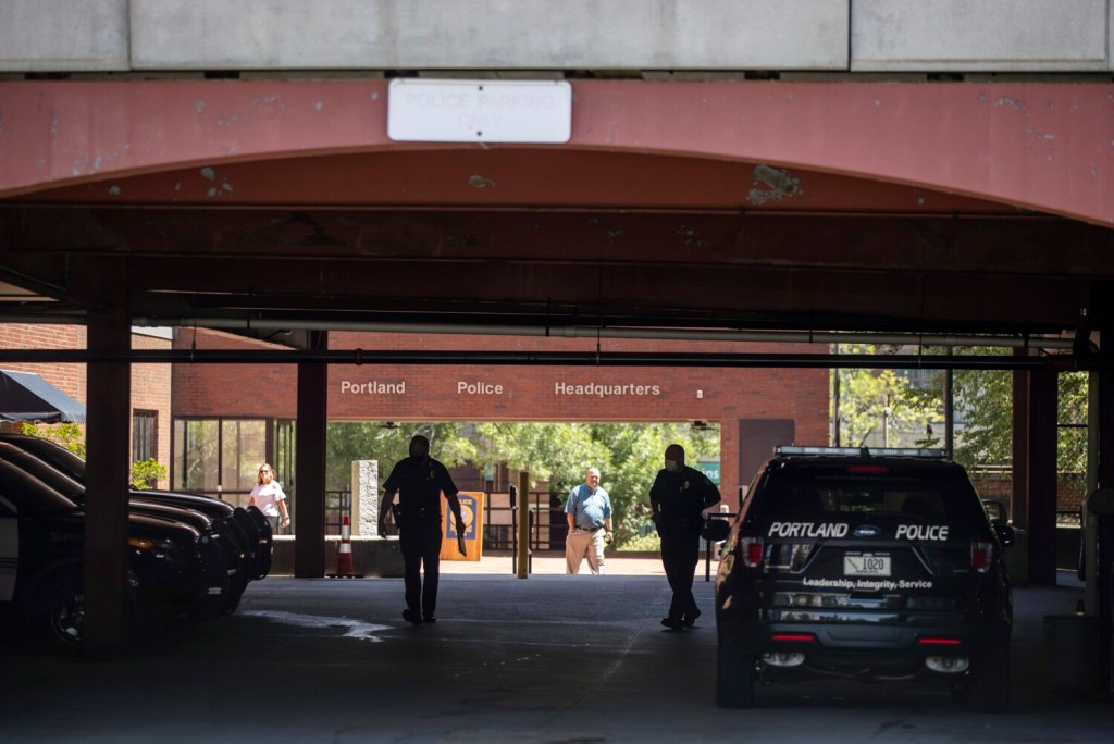 A view of the Portland police headquarters on Middle Street through the parking garage on July 6, the day after multiple shots were fired into the garage, next to the station on Middle Street. One person was in the garage when the shots were fired, but no one was injured.