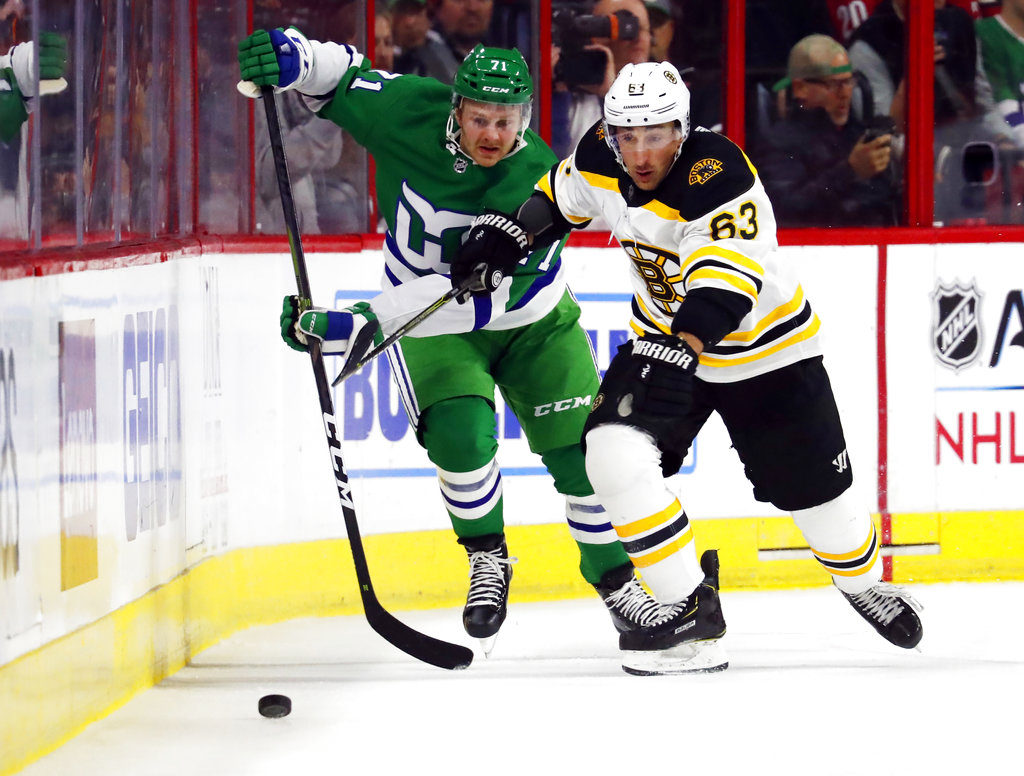 aff24e77 Boston Bruins' Brad Marchand (63) eyes the puck after battling Carolina  Hurricanes' Lucas Wallmark (71) for position during the first period of an  NHL ...