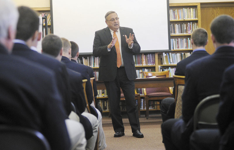 Gov. Paul LePage speaks with Cheverus High School students about domestic violence on Wednesday.