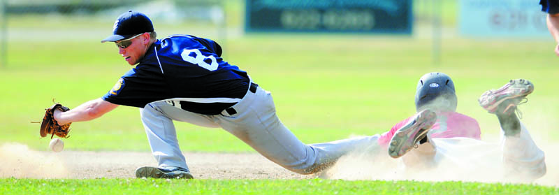 IN THERE: Gardiner second baseman Ben Crocker can't collect a throw to tag Post 51's Matt Woodbury during Post 51's 5-1 win in the if ncessary game of the American Legion Baseball Zone 2 tournament Monday in Augusta.