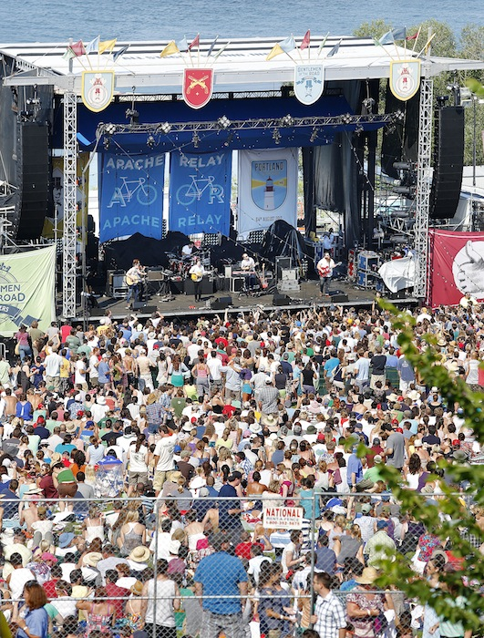 """Apache Relay, one of the featured bands, takes the stage at the """"Gentlemen of the Road Stopover"""" concert on the Eastern Promenade in Portland on Saturday, Aug. 4, 2012."""