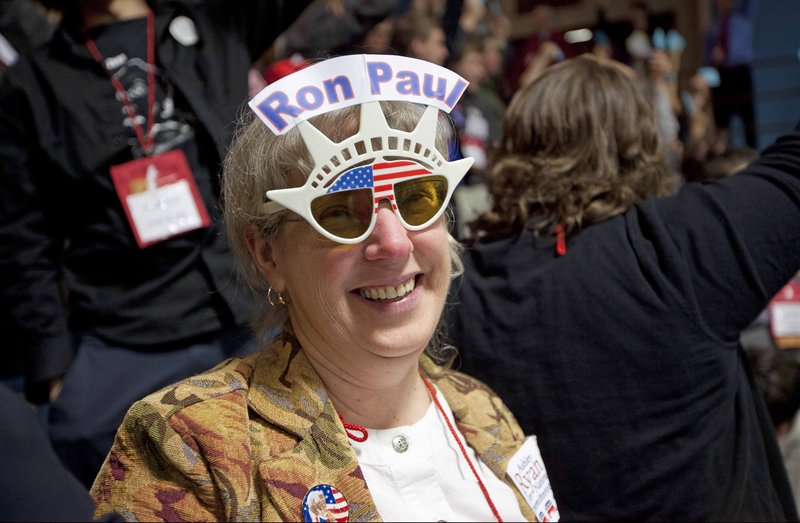 This photo shows Linda Silvia, a Ron Paul supporter at Maine's GOP convention in Augusta in May.