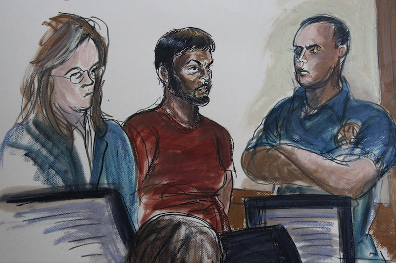 This courtroom sketch shows Quazi Mohammad Rezwanul Ahsan Nafis, 21, center, and his attorney Heidi Cesare, left, in Brooklyn Federal Court Wednesday, Oct. 17, 2012, in New York. Quazi Mohammad Rezwanul Ahsan Nafis, 21, was arrested in a sting operation Wednesday morning after he parked a van filled with what he believed were explosives outside the building and tried to detonate it in a suicide mission, authorities said. (AP Photo/Elizabeth Williams)