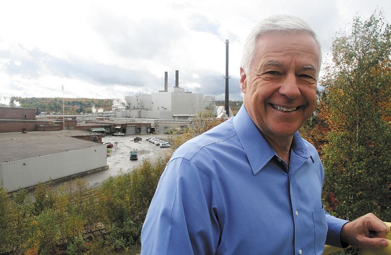 U.S. Representative Mike Michaud stands outside Great Northern Paper mill in East Millinocket earlier this month. Michaud, a five-term Democratic incumbent, is running on his support for U.S. manufacturing against Republican challenger Kevin Raye.