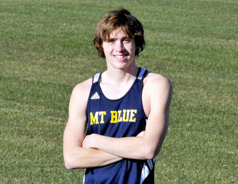 Staff photo by David Leaming Mt. Blue's Justin Tracy is the Morning Sentinel Boys Cross-Country Runner of the Year.