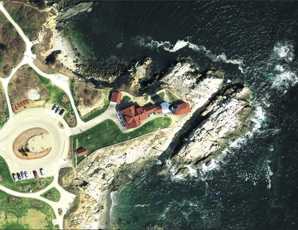 Portland Head Light in Cape Elizabeth is depicted in orthoimagery from a flight in spring 2012. The three-inch resolution of the photo means each pixel of the image represents a 3-inch square. The Maine Geolibrary Orthoimagery Program is focusing on Kennebec and surrounding counties this year, as it hopes to update geophysical data that is a decade old. Counties and municipalities can buy into the program and get high-resolution imagery to help with planning and development.