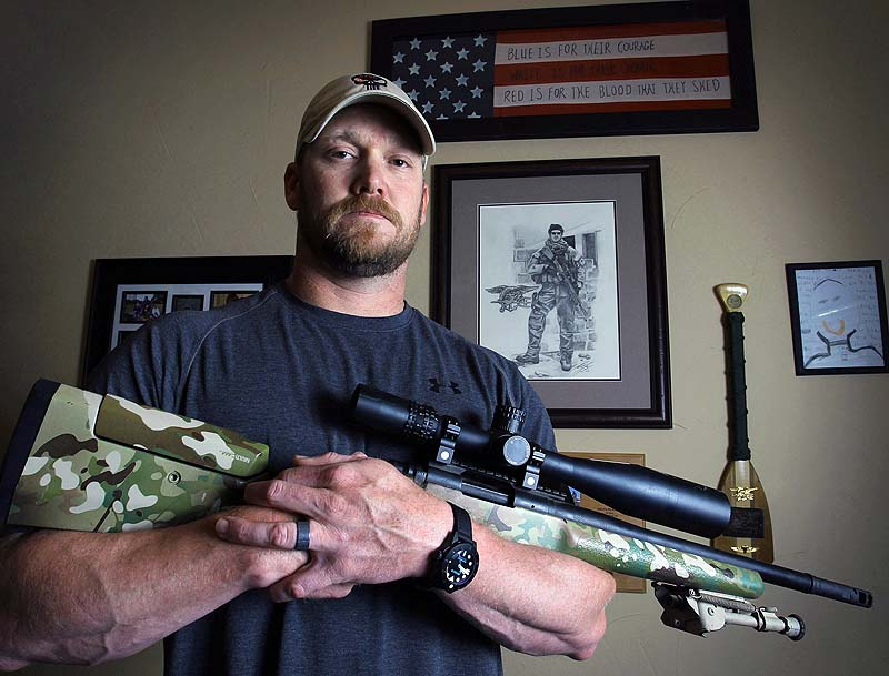 """In this April 6, 2012, photo, former Navy SEAL and author of the book """"American Sniper"""", Chris Kyle poses in Midlothian, Texas. A Texas sheriff has told local newspapers that Kyle has been fatally shot along with another man on a gun range on Saturday."""