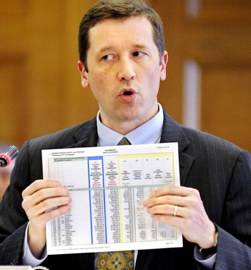 Maine Commissioner of Education Stephen Bowen presents the projected state subsidies for school districts on Monday, during a hearing of the Legislature's Appropriations and Education committees in Augusta.