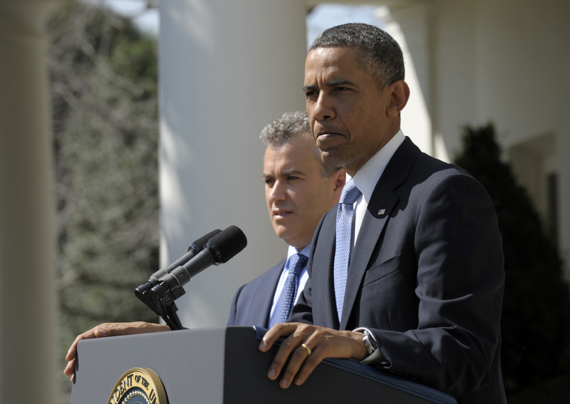 President Obama, accompanied by acting Budget Director Jeffrey Zients, speaks about his proposed 2014 federal budget at the White House in Washington, D.C., on Wednesday.