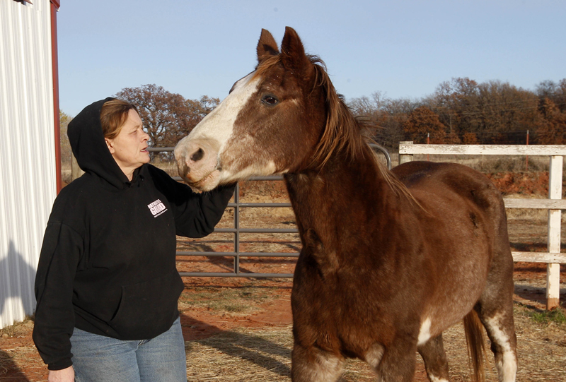 In this 2011 file photo, Cheri White Owl, founder of Horse Feathers Equine Rescue, is pictured with one of the 33 horses she is currently caring for in Guthrie, Okla. A bill to prohibit the slaughter of horses for human consumption and ban the transportation of horses through Maine to be slaughtered in Canada drew opposition from many other groups Tuesday, April 30, 2013 during a public hearing.