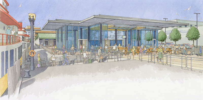 This artist's rendering shows a proposed renovation to the Casco Bay Lines Ferry Terminal.