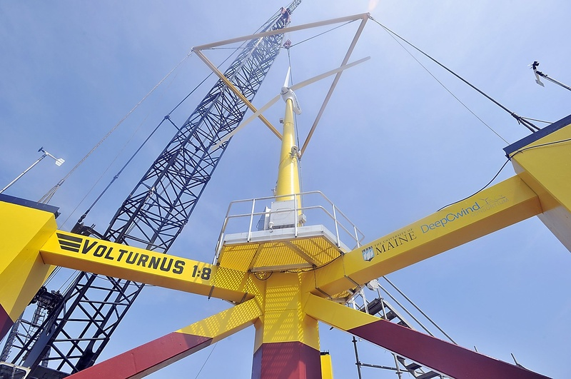 "A scale model of the University of Maine's ""VolturnUS"" turbine was christened in May. Initial assessments of UMaine's offshore wind proposal will be difficult because UMaine has chosen to keep the entire 100-page document from public view."