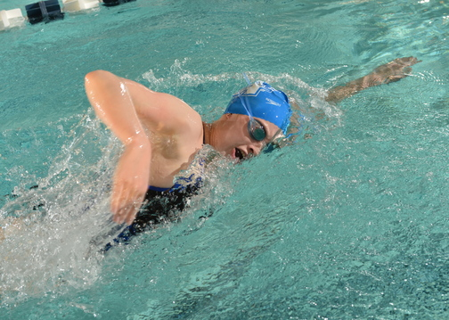 STILL GOING STRONG: Cony high school graduate Victoria Weber is now swimming at Assumption College.