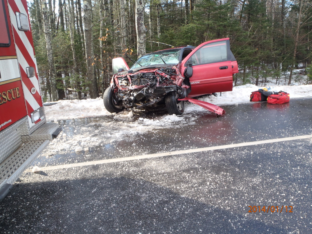 Crash: An SUV driven by John Hinkley lost control on Route 17 in Windsor and crashed into a Delta Ambulance Sunday, sending five people to the hospital for treatment.