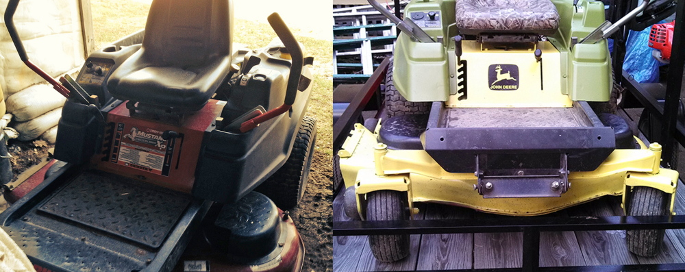 """Tractor Trick: Police allege that Troy Eafrati bought a Toro riding lawn mower, left, using a fake check and later painted it """"John Deere green"""" to disguise its appearance, at right."""