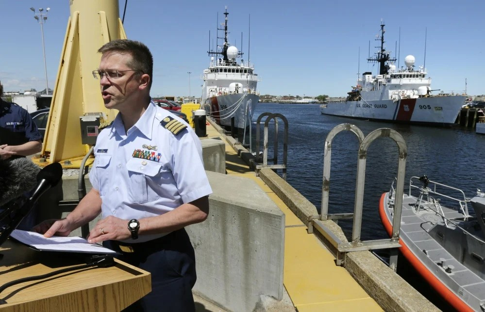 U.S. Coast Guard Capt. Anthony Popiel addresses reporters during a news conference regarding the search for the Cheeki Rafiki on Wednesday in Boston.