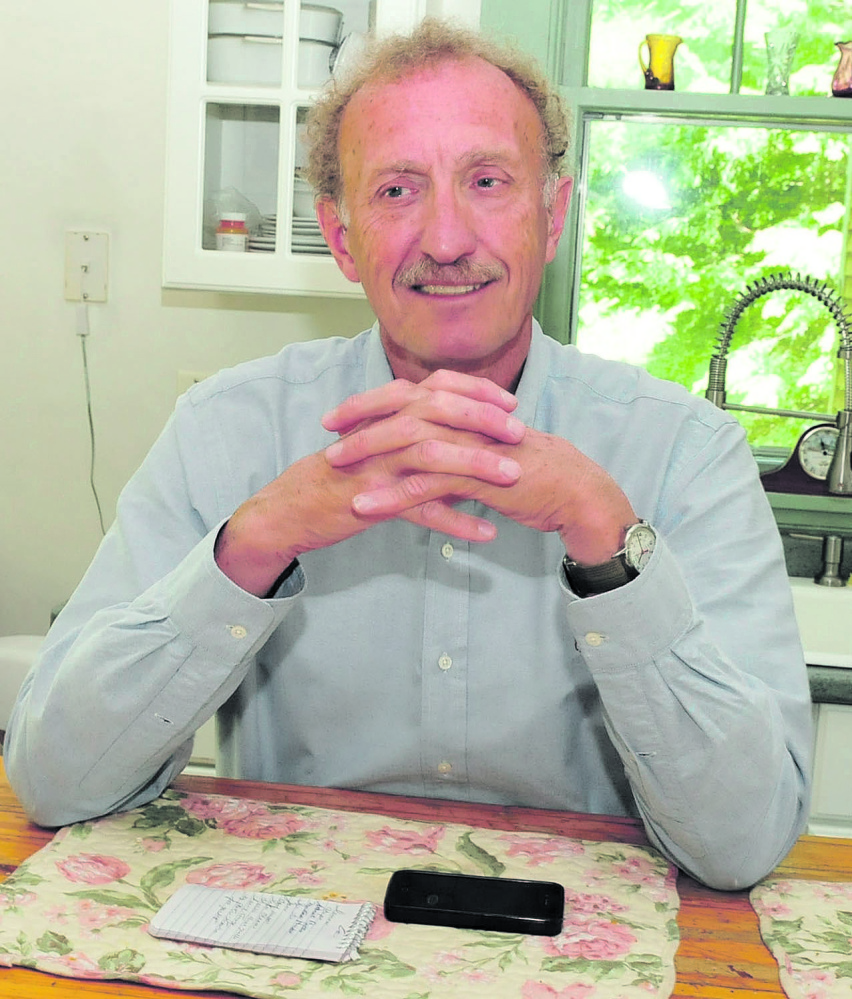 OUT OF WORK: Attorney Dale Thistle speaks about being suspended to practice law because of a car accident in 2011 at his home in Skowhegan on Thursday.