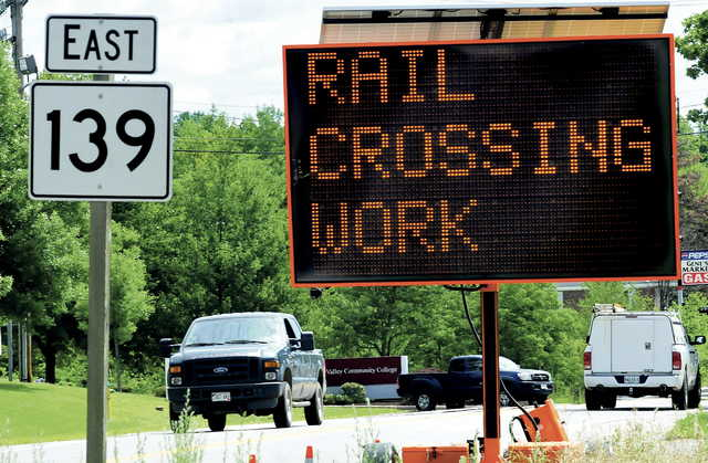 A signs warns motorists that Pan Am Railways workers are repairing crossings on Aug. 5-7 on Western Avenue in Fairfield.