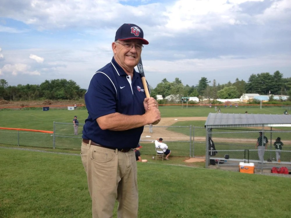 Colin Quinn, a former teacher and coach at Skowhegan for 18 years, has enjoyed watching the success of the 11U Skowhegan Cal Ripken team. He threw out the first pitch in an elimination game Wednesday between Andy Valley and Riverside, Mass.