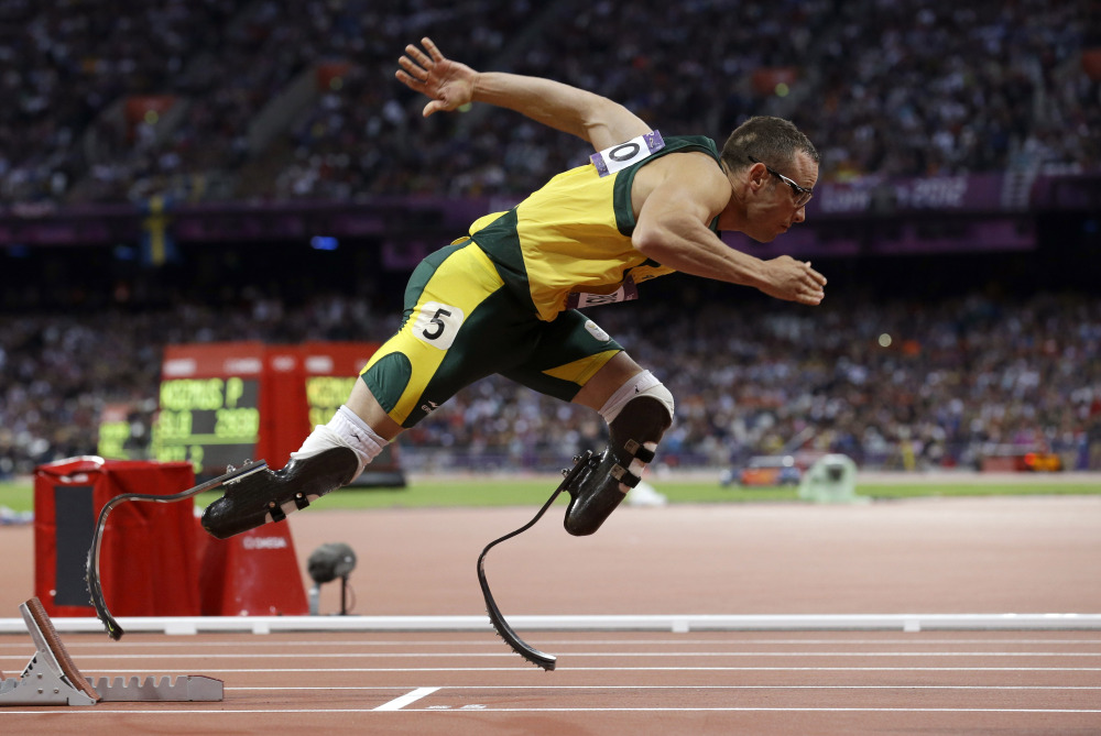 In this file photo South Africa's Oscar Pistorius starts in the men's 400-meter semifinal during the athletics in the Olympic Stadium at the 2012 Summer Olympics, London.