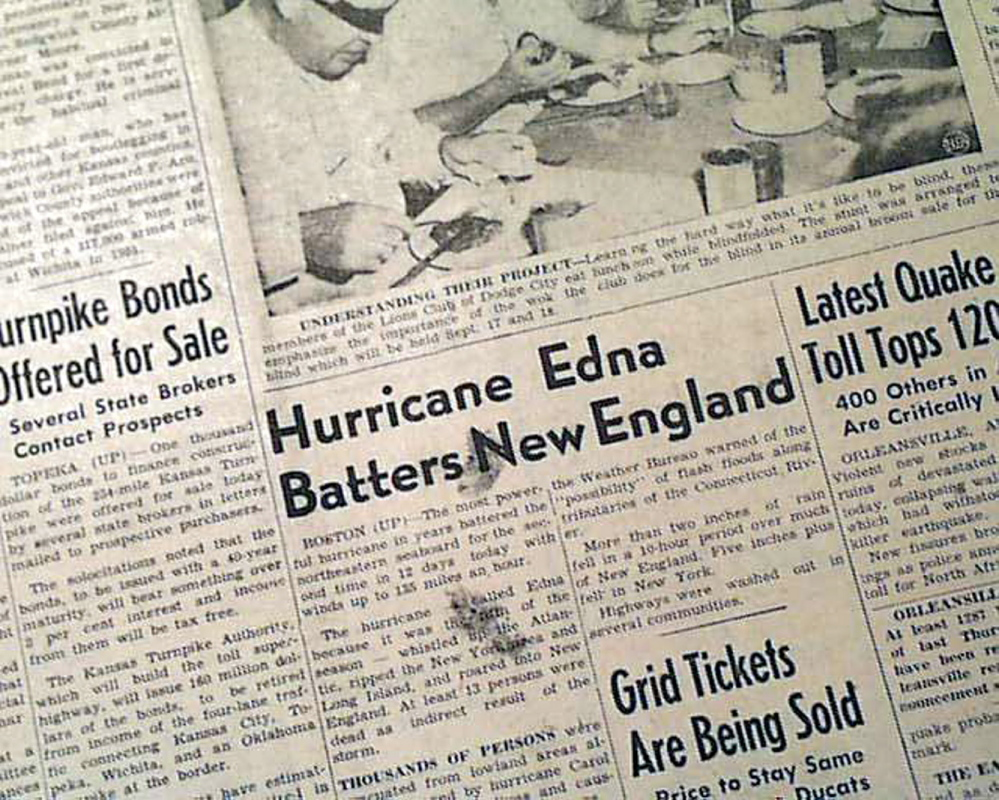 Hurricane Edna and her sister storms blew through region 60 years