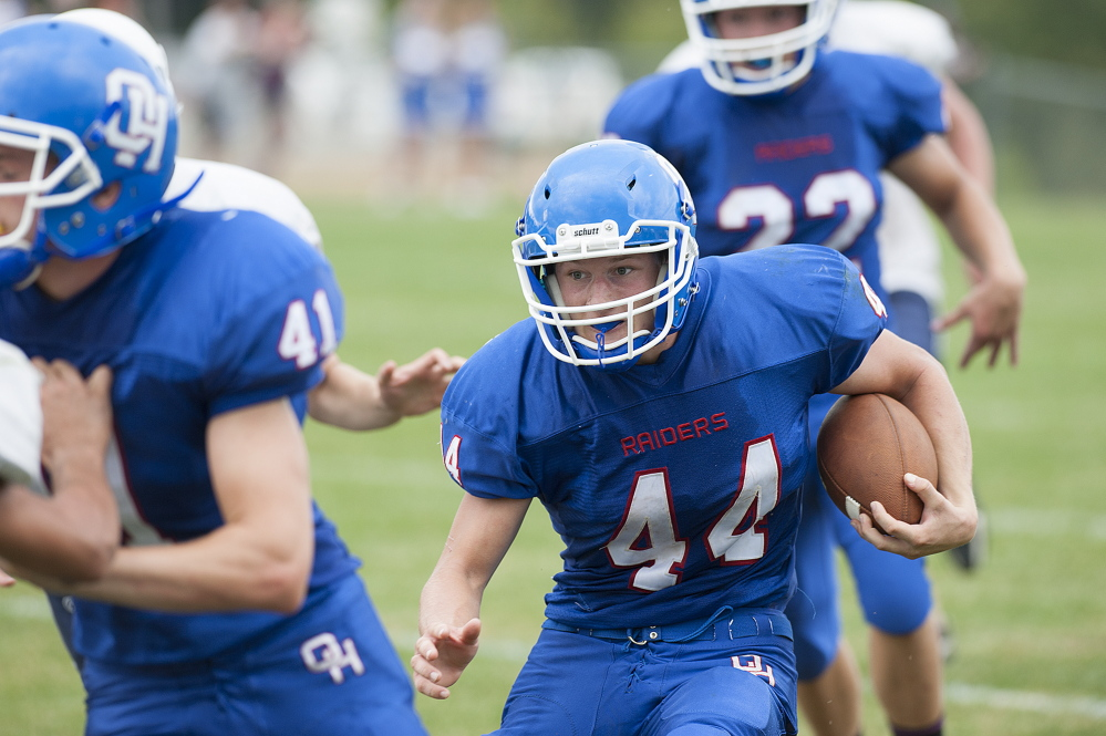 Kevin Bennett photo   Oak Hill running back Kyle Flaherty has been bothered with a leg injury, but he returned to action last Saturday and turned in a dominant performance against Old Orchard Beach.