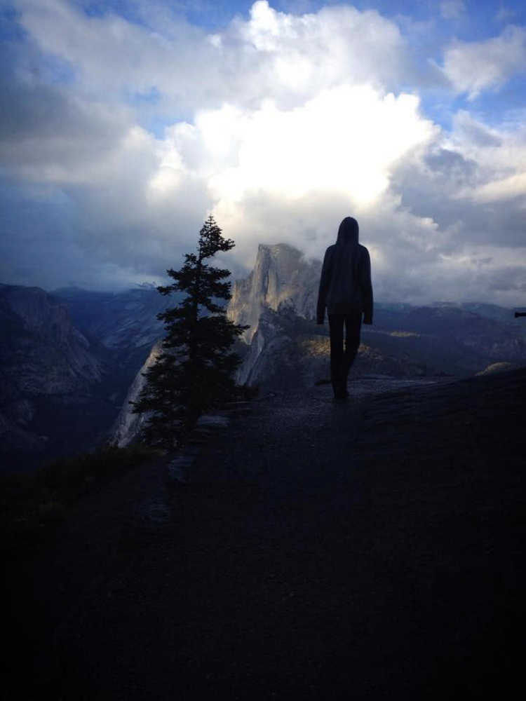 Annie Cooke, 14, poses May 20 at Yosemite National Park in California. The Cooke family, of Cornville, took a trip for several weeks  across the U.S. in a converted school bus. The Cookes are expected to arrive home this weekend.