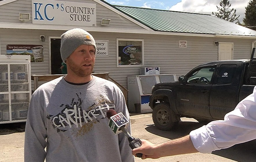 Robert Burton, shown giving a TV interview shortly after the discovery of the body of his girlfriend in her Parkman home in June, has turned himself in to police. Courtesy of WABI-TV via Maine Department of Public Safety