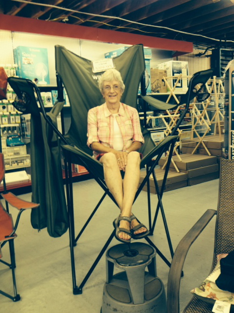 Evalyn Bowman sits in the big chair at Hussey's General Store in Windsor.
