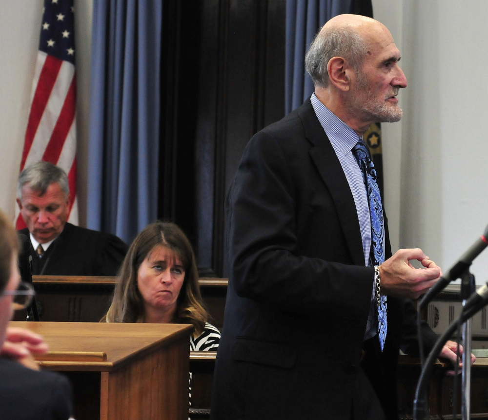 Defense attorney Leonard Sharon gives opening statements in the jury trial of Andrew Maderios in Somerset County Superior Court in Skowhegan on Monday.