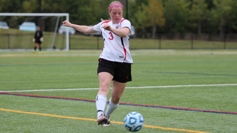 Lindsy Hoopingarner, of Richmond, came to Thomas College as a goalie. Now a senior, Hoopingarner starts at center-back for the Terriers.