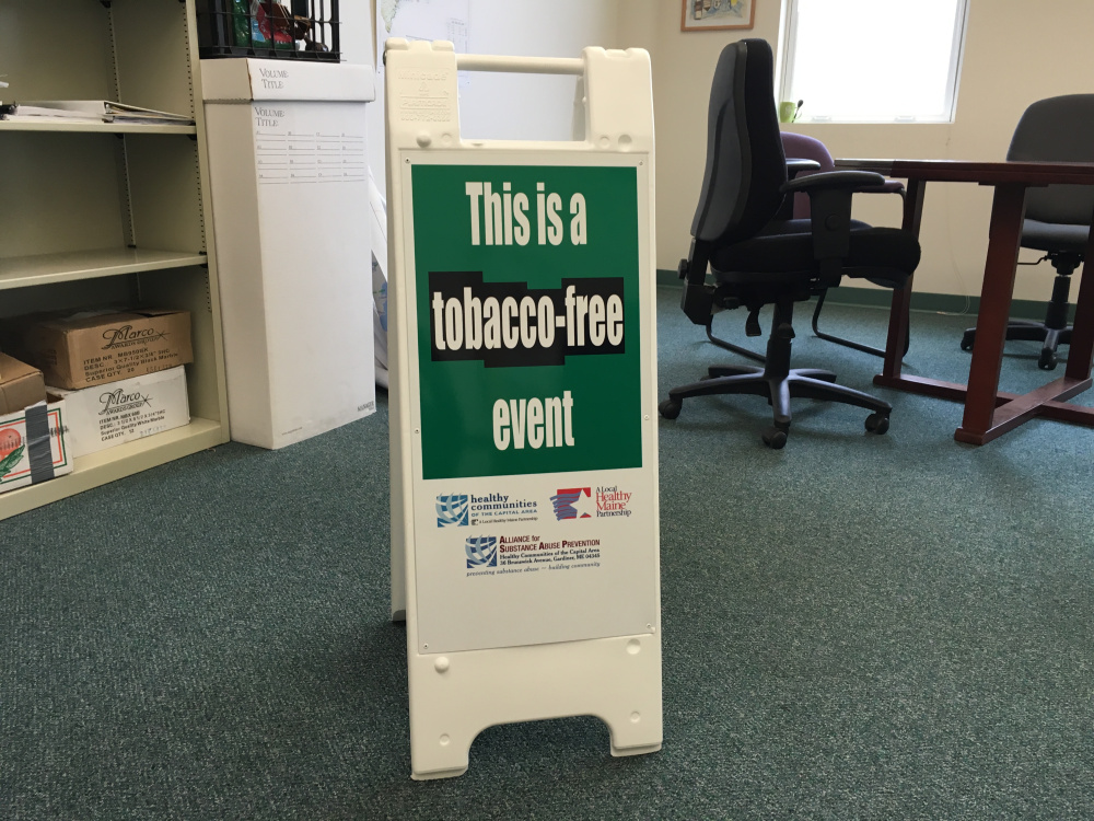 These types of signs are used in Winthrop to remind people not to use tobacco products at certain events.