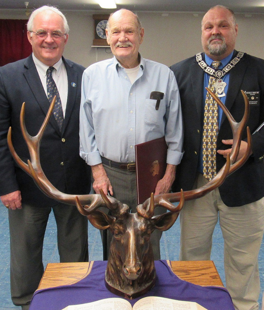 State Rep. Stanley Short, D-Pittsfield, left, presented Spencer Havey with a commendation from the Maine Legislature at the Sebasticook Valley Elks installation of officer's ceremony on April 2. The honor was in recognition of Havey's Spirit of America award presented at a recent Pittsfield Town Council meeting. Also pictured is Havey's son, Michael.