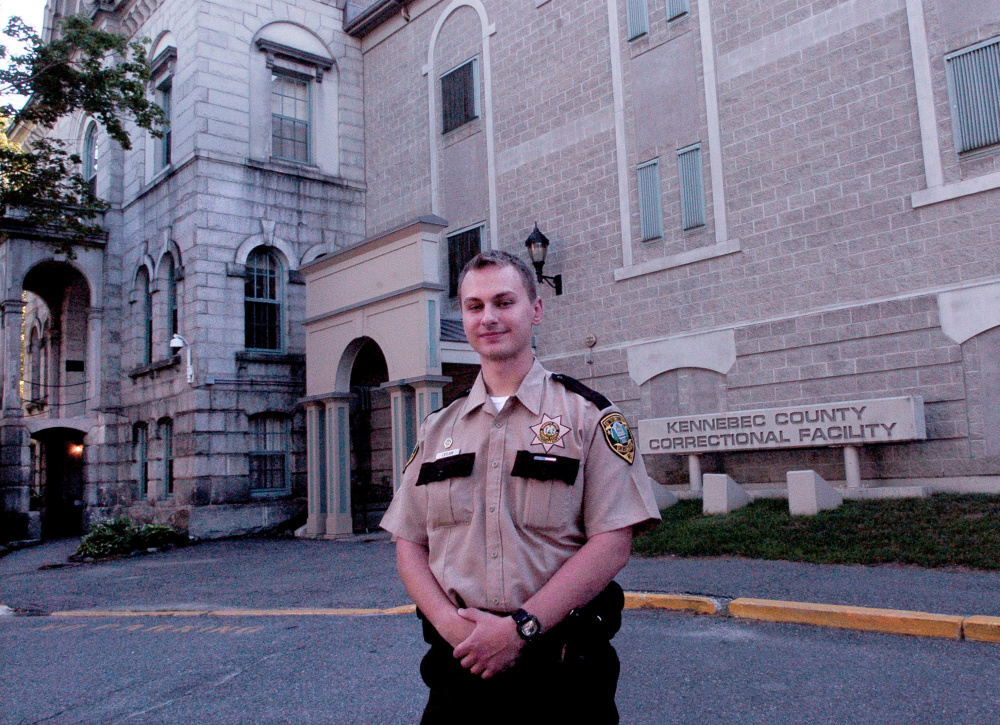 Thomas College student Tyler LeClair stands outside the Kennebec County Correctional Facility in Augusta, where he is an intern. LeClair said professor Steven Dyer's empathy-based approach to teaching criminal justice has helped him.