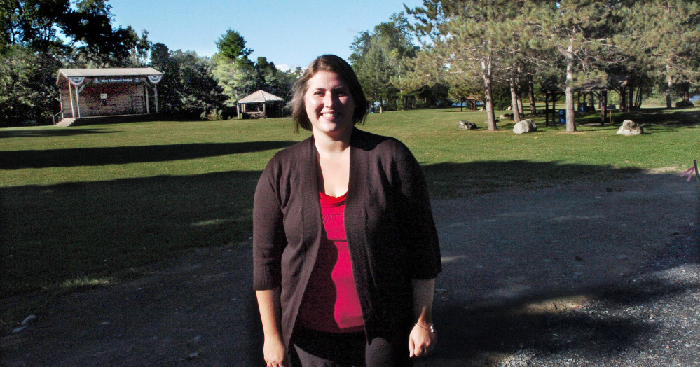 Amanda McCaslin, the new Winslow Parks and Recreation director, stands Thursday at Fort Halifax Park, where she would like to organize schoolchildren tours as part of new department goals.