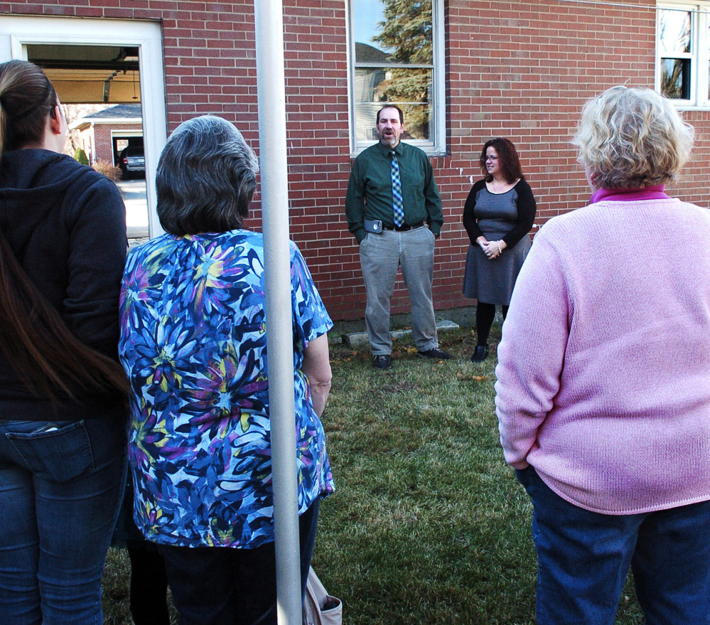 Andrew and Tina Chartrand, of Freedom First Support Services, thank supporters and staff members Monday in Winslow during an open house at the Winslow House, the first home in Winslow that creates a learning environment for developmentally disabled people to develop independence skills.
