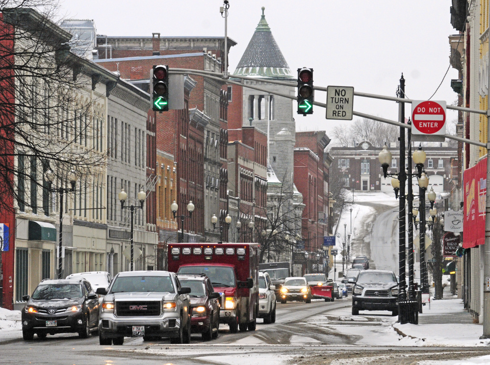 This Tuesday photo shows the one-way northbound traffic on Water Street in downtown Augusta.