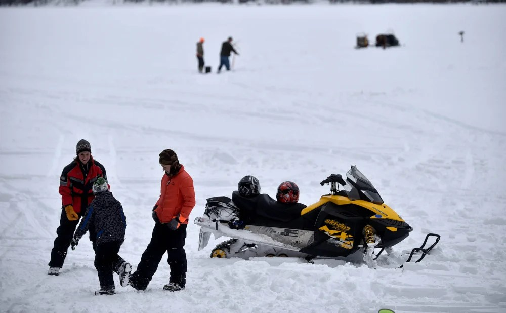 Ice fishermen take to the Lovejoy Pond on Saturday for the fifth annual Albion Lions Club-sponsored Ice Fishing Derby on Lovejoy Pond in Albion.