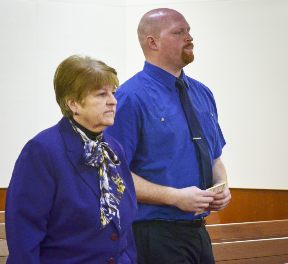 The trial of Lucas Savage, who faces a charge of unlawful sexual contact, opened Tuesday at the Capital Judicial Center in Augusta. Savage, 28 formerly of Clinton, is shown here with his attorney, Pamela Ames, listening to instructions from Justice William Stokes.