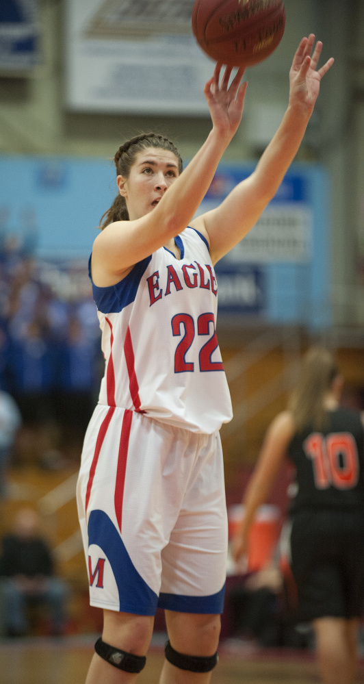 Messalonskee senior McKenna Brodeur shoots during a Class A North quarterfinal game against Gardiner at the Augusta Civic Center.