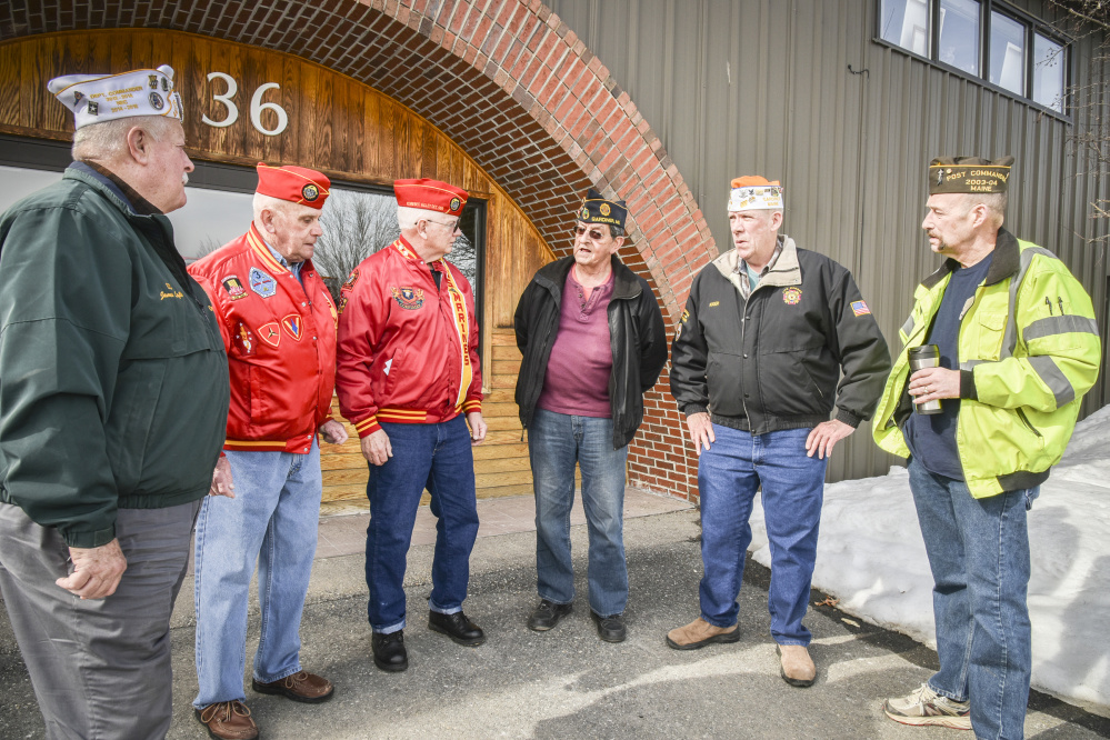 American veterans' group leaders meet outside the offices of the Kennebec Journal to discuss the decline in veterans' groups membership. They are, left to right, James Laflin, U.S. Army retired, AMVETS National Executive Committee representative, commander of the AMVETS Post 2001 in Augusta, and a past commander of department of Maine AMVETS; Ralph Sargent, U.S. Marine Corps retired, senior vice commandant of Marine Corps League Kennebec Valley Detachment 599 and junior vice commandant of Veterans of Foreign Wars Post 9 in Gardiner; Bill Schultz, U.S. Navy retired and commandant of Marine Corps League Kennebec Valley Detachment 599; Roger Paradis, U.S. Navy retired and adjutant, historian and Americanism coordinator for American Legion Smith-Wiley Post 4 in Gardiner; Roger McLane U.S. Navy retired, Commander VFW Post 9 in Gardiner and member of American Legion Post 181 in Litchfield; and Eric Hunt, U.S. Navy Retired, past commander of Winslow VFW Post 8835 and an associate member of Marine Corps League Kennebec Valley Detachment 599.
