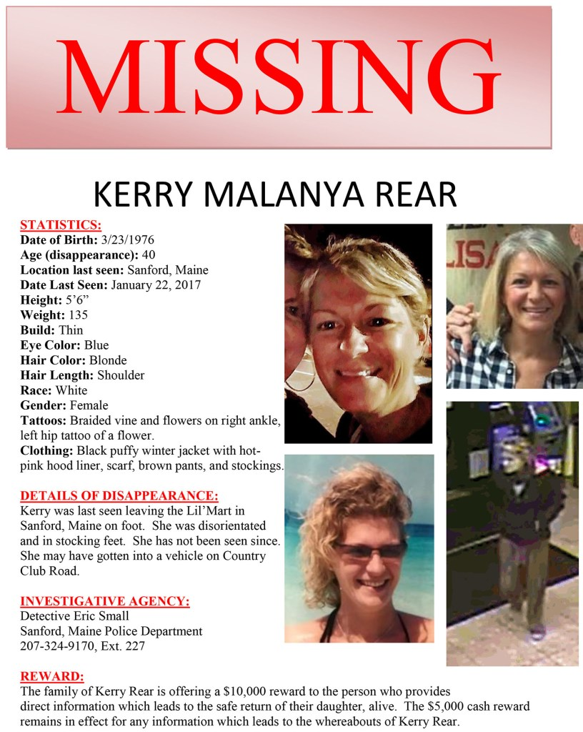 This flier was distributed in the effort to find Kerry Rear of Sanford, who was last seen Jan. 22.