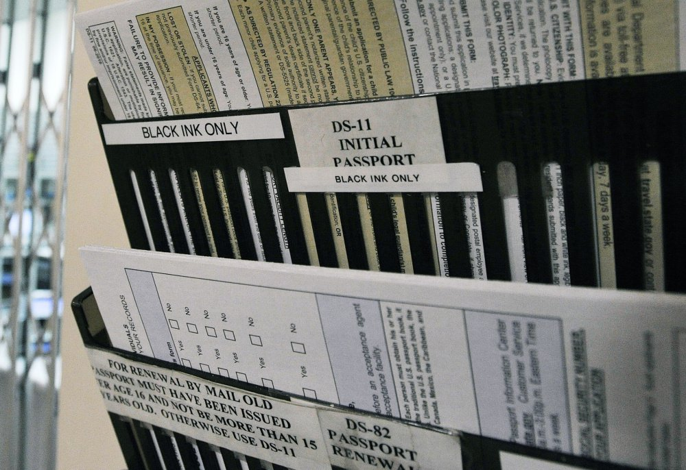 Passport and renewal forms are offered at the Portland post office. The U.S. State Department announced Wednesday that the processing time for a routine passport now takes six to eight weeks, up from four to six.