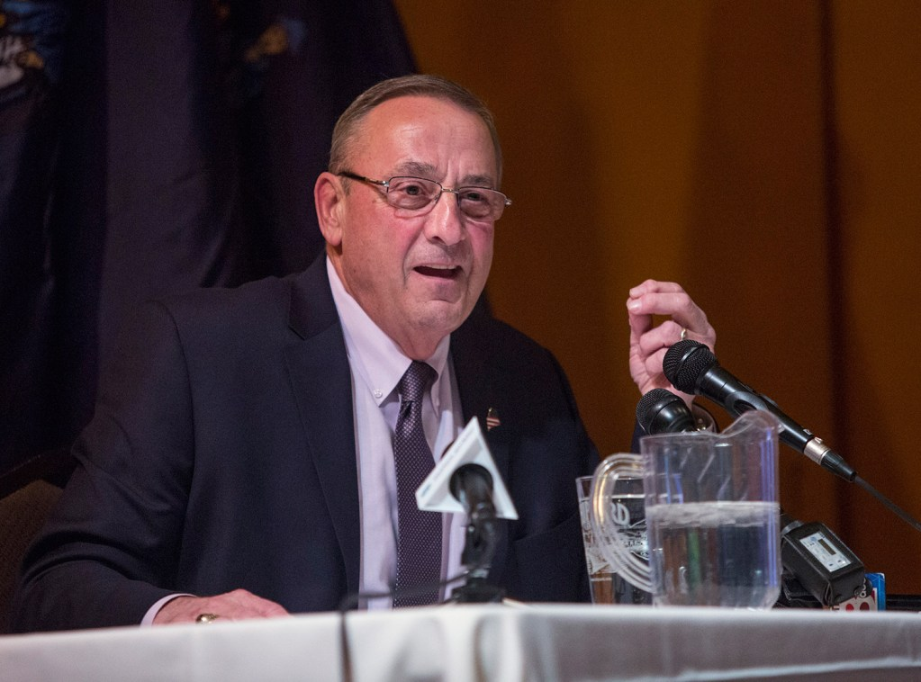 """Gov. Paul LePage speaks to an audience of about 150 people at Wednesday's town hall meeting in Gorham. He said, """"The only toll we should have is for the visitors coming in and out of the state in the summer months."""""""