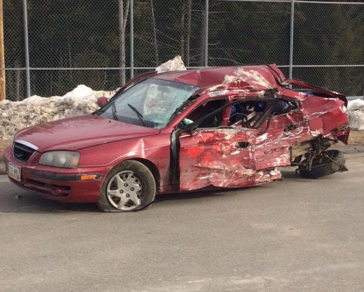 The Somerset County Sheriff's Office released this photo of the 2005 Hyundai Elantra that was involved in a deadly crash with a school bus in Norridgewock Friday night.