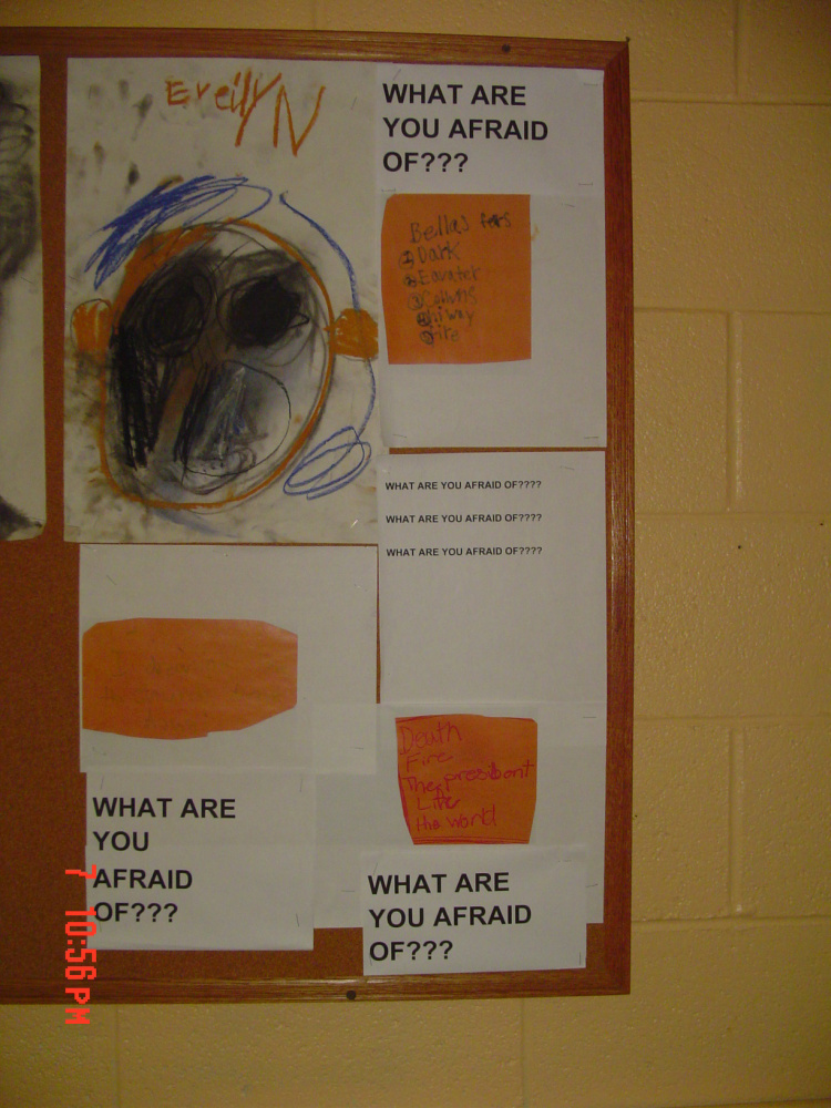 """""""What Are You Afraid Of?"""" — Charcoal drawings by elementary grade K-4."""
